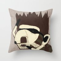 racoon Throw Pillows featuring Raino Racoon by René Barth