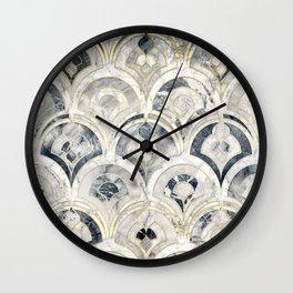 Monochrome Art Deco Marble Tiles Wall Clock
