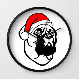 Bullmastiff Dog with Christmas Santa Hat Wall Clock