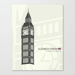 Elizabeth tower clock big Ben in London Canvas Print
