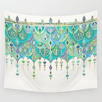 theatre Wall Tapestries featuring Art Deco Double Drop in Jade and Aquamarine on Cream by micklyn