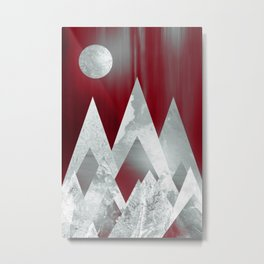 SILVER MOUNTAINS UNDER A BLOOD RED WINTER SKY Metal Print