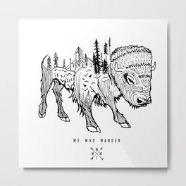 Buffalo   We Who Wander Threads Metal Print