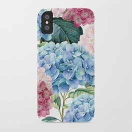 Pink Blue Hydrangea iPhone Case