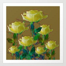ARTISTIC YELLOW ROSE HARMONICS DRAWING Art Print