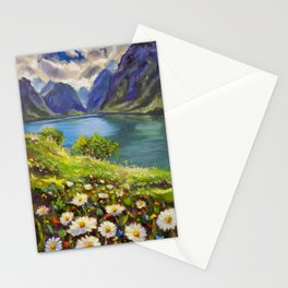 Shore of flowers on lake in mountains - original oil painting by Rybakow Stationery Cards
