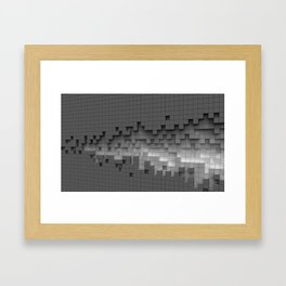 Grey cubes mosaic - torn wall Framed Art Print