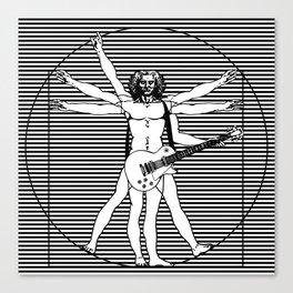 Vitruvian man - Les Paul guitar playing D-Chord (version with strips) Canvas Print