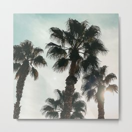 Palm Tree Art Print {1 of 3} | Teal Pastels Topical Beach Plant Nature Vacation Sun Vibes Artwork Metal Print