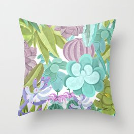 Tropical Cactus Pattern Throw Pillow