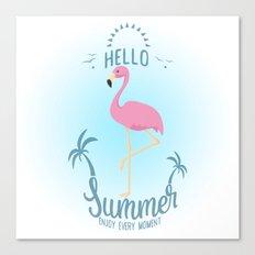 Hello Summer Flamingo Canvas Print