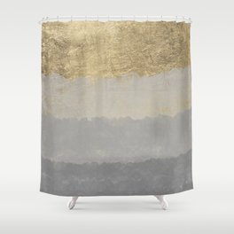 Geometrical ombre glacier gray gold watercolor Shower Curtain