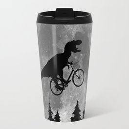 Biker t rex In Sky With Moon 80s Parody Travel Mug