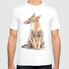 Fox Watercolor MEDIUM Mens Fitted Tee White