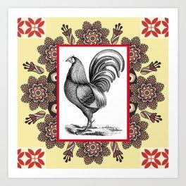 Chicken 'N Mandala Art Print