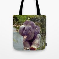 baby elephant Tote Bags featuring Baby Elephant by Erika Kaisersot