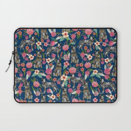 Australian cattle dog floral dog breed navy pet pattern custom gifts for dog lovers Laptop Sleeve