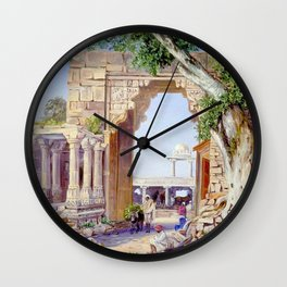 Elephant Gate and Neem Tree at Chittore, India Wall Clock