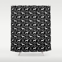 Jack Russell Terrier floral silhouette dog breed pet pattern silhouettes dog gifts black and white Shower Curtain
