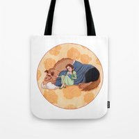 beauty and the beast Tote Bags featuring Beauty and the Beast by Naineuh
