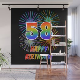 "58th Birthday ""58"" & ""HAPPY BIRTHDAY!"" w/ Rainbow Spectrum Colors + Fun Fireworks Inspired Pattern Wall Mural"
