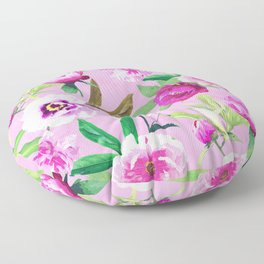 Pink Flowers And Lilac Pansies Floral Pattern Floor Pillow