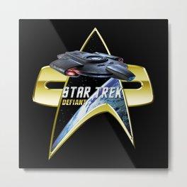 StarTrek defiant Com badge Metal Print