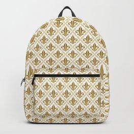 Gold Fleur-de-Lis Pattern Backpack