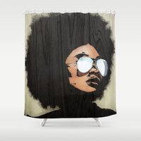 afro Shower Curtains featuring Venus Afro by Vin Zzep