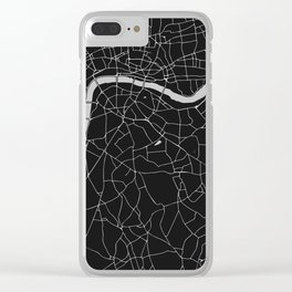London Black on Gray Street Map Clear iPhone Case