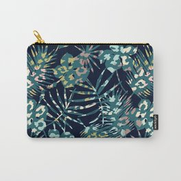 leopard print palm leaves navy Carry-All Pouch