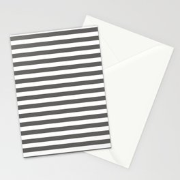 Pantone Pewter Gray & White Uniform Stripes Fat Horizontal Line Pattern Stationery Cards