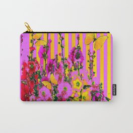 YELLOW BUTTERFLIES  PINK FLORAL GARDEN  ABSTRACT Carry-All Pouch
