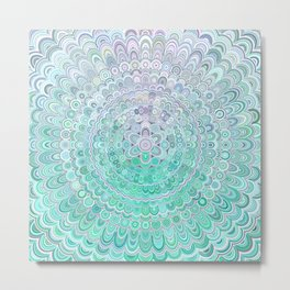 Turquoise Ice Flower Mandala Metal Print
