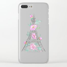 Eiffel tower and peonies Clear iPhone Case