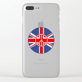 Brit Flag Peace Sign Roundel Clear iPhone Case