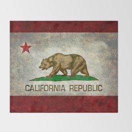 Californian flag the Bear flag in retro grunge Throw Blanket