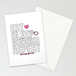 Eat Sleep Sudoku Repeat Problem Solving Stationery Cards