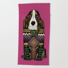 Basset Hound fuchsia pink Beach Towel