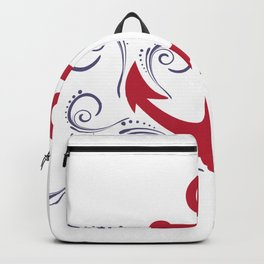 Red and navy-blue nautical boat anchor Backpack