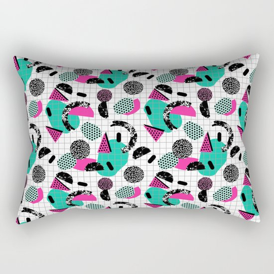 Cha Ching - abstract throwback memphis retro 80s 90s pop art grid shapes Rectangular Pillow