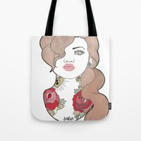 tattoos Tote Bags featuring Tattoos by Lilyana Reyes