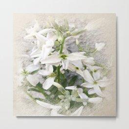 PASTEL WHITE FLOWER Metal Print