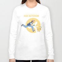 tintin Long Sleeve T-shirts featuring THE ADVENTURES OF ASH KETCHUM by Akiwa
