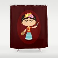 frida kahlo Shower Curtains featuring Frida Kahlo by Sombras Blancas Art & Design