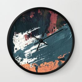 Thrive: a colorful, vibrant, abstract mixed media print in blues, red, orange, and white Wall Clock