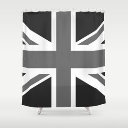 UK Flag, High Quality in grayscale Shower Curtain