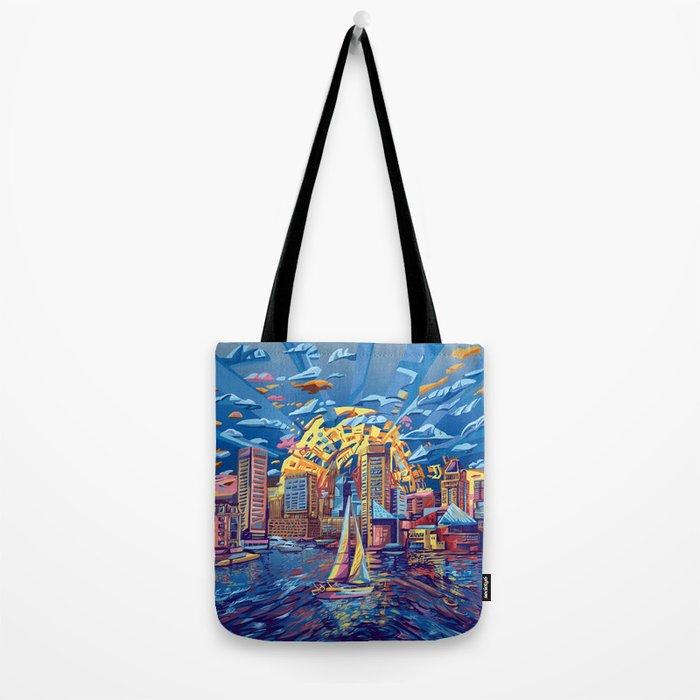 abstract city skyline-baltimore Tote Bag