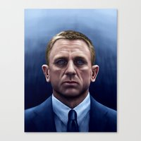 james bond Canvas Prints featuring James Bond by Vincent Leung