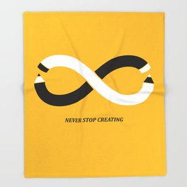 Never stop creating (the infinity pencil) Throw Blanket